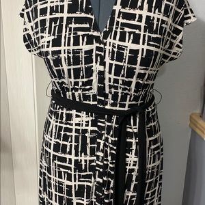Black and white button down front dress